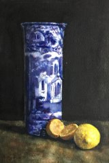 Old Blue and White Vase and Lemons
