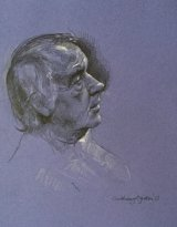 MALE MODEL IN LILAC.    Graphite and white chalk on tinted paper