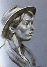 AMY WEARING A HAT.     Graphite and white chalk on tinted paper