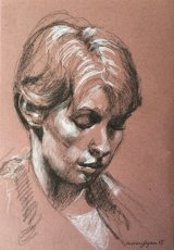 AMY      Graphite and white chalk on tinted paper