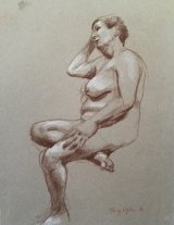 PENSIVE WOMAN.   a brown and white pencil