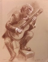 Study- Robin Hill Playing Classical Guitar.   Brown and white pencil