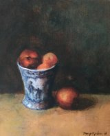 BLUE AND WHITE VASE AND APRICOTS.   Acrylic.   SOLD