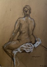 Rear View of a Female Sitting on a Towel.      Charcoal,and white chalk