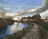 Cottages on the River in Winter at Nob End.   Acrylic