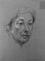 JANE VICTORIA.         Graphite and white chalk on pastel paper