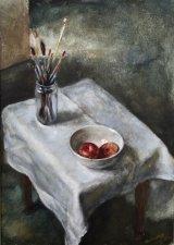 Brushes and Fruit Bowl.      Acrylic