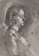 Sketch of girl in profile