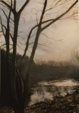 Winter Sunlight on the River at Ringley     Acrylic