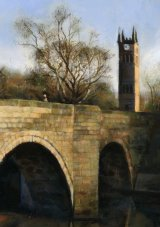 The Bridge, Clocktower and the Horseshoe Pub at Ringley Village.  Acrylic