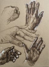 Studies of My Hand  5.     Black rollerball pen and white pencil