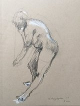Sketch— A  Difficult Pose to Maintain.  Charcoal pencil and white chalk