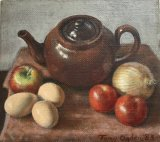 TEAPOT WITH FRUIT AND EGGS. Oil and acrylic. 11x13 cms. SOLD