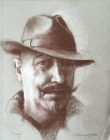 SELF PORTRAIT WITH TRILBY    Brown and white pencil