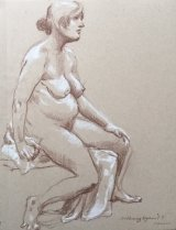 Woman with a Towel on a Bench.     Brown pencil and white pencil