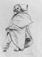 Seated Hospital Patient with Blanket.       Graphite