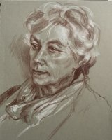 JOYCE, MY MOTHER-IN-LAW.    Brown pencil and white chalk on grey