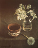 STILL LIFE WITH DANDELION. OIl and acrylic.   SOLD