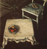 Still Life With Eggs and Fruit.   Oil and acrylic.    SOLD