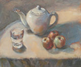 Teapot , Glass and Three Apples