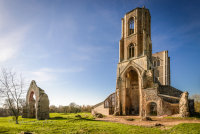 Wymondham Abbey in blue sky