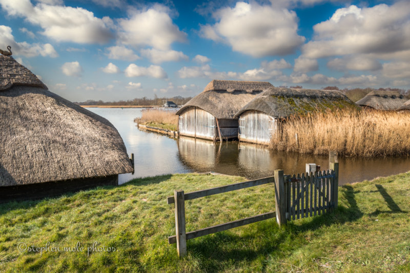 Thatched Boathouses at Hickling Broad