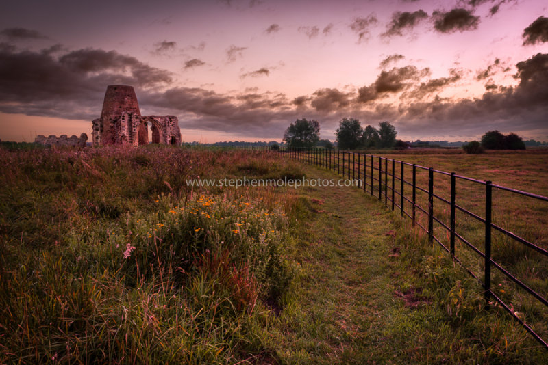 St Benet's Abbey with fence