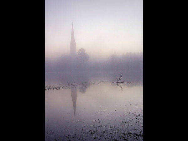 Salisbury Cathedral in the mist