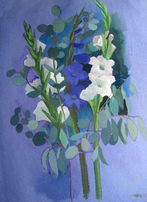 Gladioli and Eucalyptus