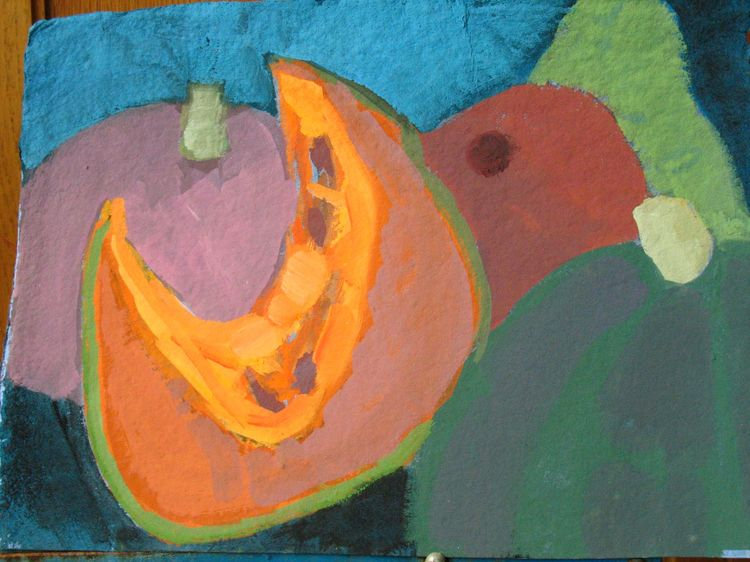 Pumpkin Series Distempera and Gouache on hand made paper