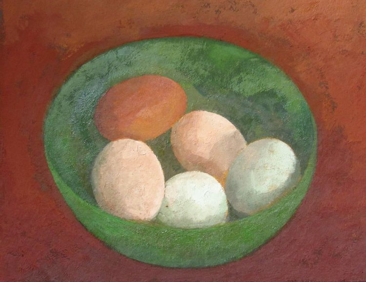 Eggs in green bowl
