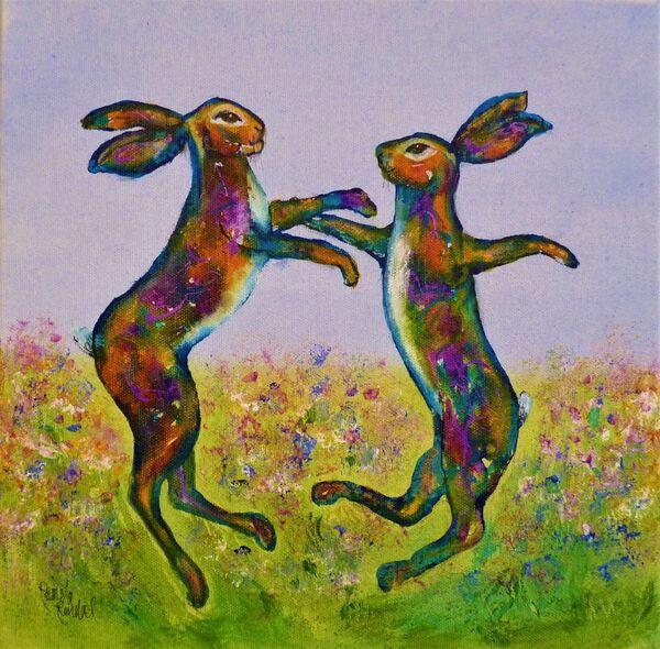 Prancing hares SOLD