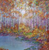 Sunlight through birches