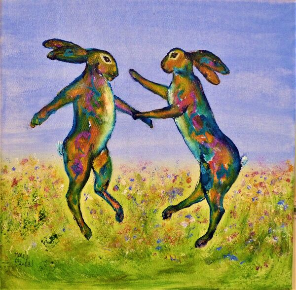 Dancing hares SOLD