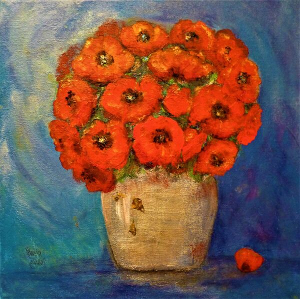 Poppies in silver vase