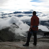 Paul Russell looking outwards to sunrise in the Alps