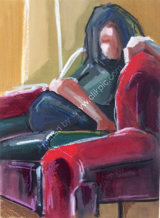 Red chair #1, oil paper, 29x39