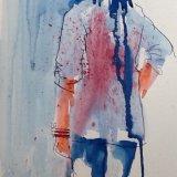 Blue top, standing