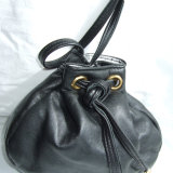 Black leather drawstring bag