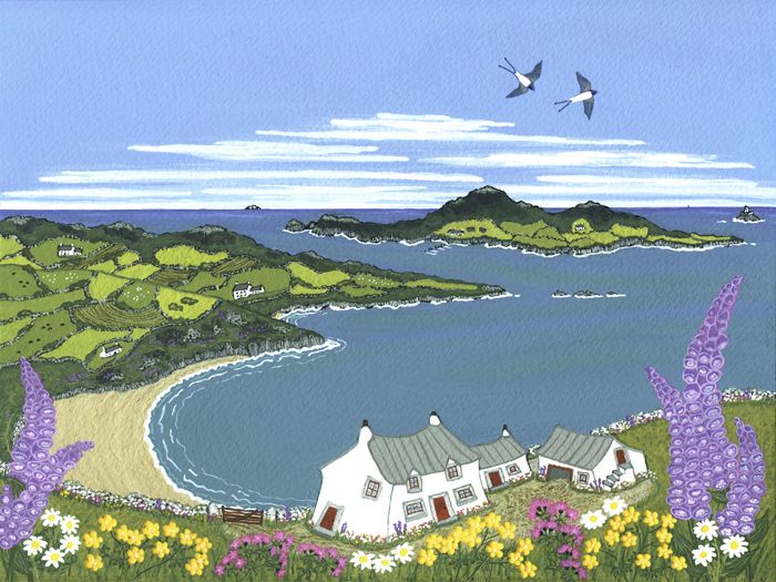 Foxgloves & Swallows Above Whitesands Bay
