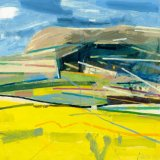 Downland with Oilseed Rape 61x61cm 2006 Oil on Board Estate of Peter Iden #18