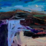 Evening Landscape Moon Rising 59x59cm Oil on Board 2010 Estateof Peter Iden #26