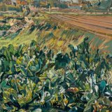 Allotments at Wangford, Suffolk 54x75cm (1994) Oil on board Estate of Peter Iden #90 Price £4000