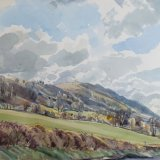 Harting Hill April 48x37.5cm 1991? Watercolour Estate of Peter Iden #311
