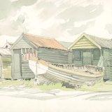 Fishermen's Huts at Walberswick (1987?) Watercolour 26x18cm Estate of Peter Iden #352