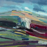 South Downs with Red Field 30x30cm (2011) Oil on board Estate of Peter Iden #48