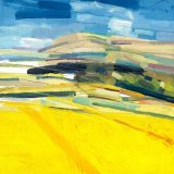 South Downs with Yellow Field 30x30cm (2011) Oil on Board Estate of Peter Iden #52