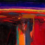Red Landscape 30x30cm (2011) Oil on board Estate of Peter Iden Number 47