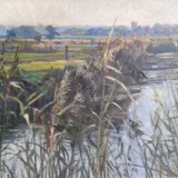 River Landscape through Reeds 45x30cm (1992) Oil on board Estate of Peter Iden #368 Price £750