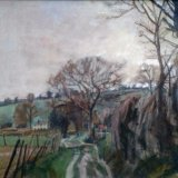 Winter near Chalton 59x39cm (1996) Oil on canvas Estate of Peter Iden #362 Price £900